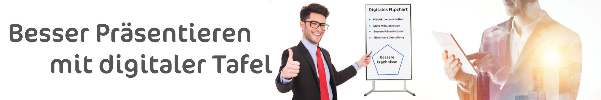 Junger Mann präsentiert mit elektronischen Flipchart