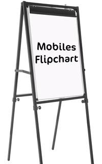 Mobiles Flipchart auf weißem Hintergrund
