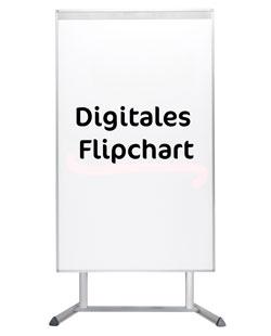 Digitales Flipchart auf weißem Hintergrund